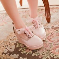Sweet Women japanese style pumps shoes wedge lace up high heels