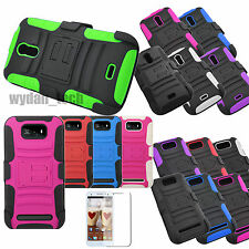 For BLU Studio Rugged Hybrid Stand Holster Clip Case Cover w/ Screen Protector