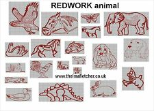 CD machine embroidery design files 20 REDWORK ANIMALS 13 formats pes jef hus etc