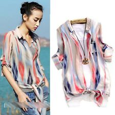 Womens Summer Striped Knot Tie Collar Lapel Casual chiffon Shirt Blouse Tops M L
