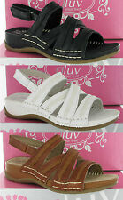 Womens Gluv Vico Leather Velcro Sling Back Padded Comfort Quality Sandals 4-8