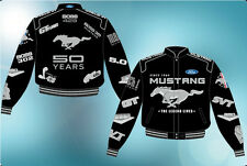 Ford Mustang 50th Anniversary Collage Jacket Adult Black Twill JH Design Jackets