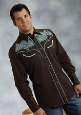 Roper Mens Brown Turquoise Embroidered L/S Western Show Rodeo Dress Snap Shirt