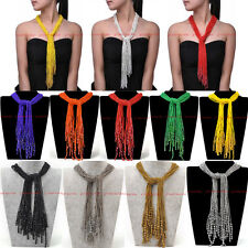 Hot Fashion DIY Knot 15 Strand Resin Seed Beads Chain Long Pendant Bib Necklace