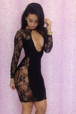 Women Sexy Low Cut Deep V Lace Clubwear Cocktail Black Sleeveless Party Dress