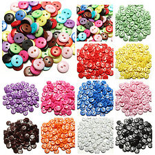 100/200Pcs 8mm RESIN BUTTONS MIXED COLOURS CRAFT SCRAPBOOK SEWING CARDMAKING