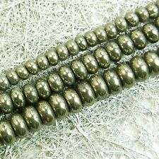 Natural Iron Pyrite Gemstone Rondelle Beads 16'' 3mm 4mm 6mm 8mm 10mm