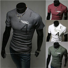 Fashion Slim fit Men's T-shirt Short-sleeved O-Neck Letters Printing T-shirt