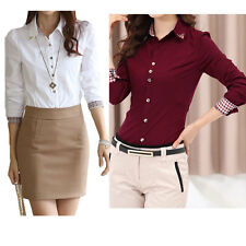 New Women OL Career Long Sleeve Shirt Turn-down Collar Button Blouse Office Tops