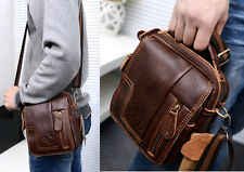 Mens Leather Waist Bags Briefcase Shoulder Messenger Bags Casual Handbags Purse