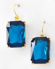 FASHION BOUTIQUE - Colorful GLASS Rectangle Drop Earrings Gold NWT Fish Hook