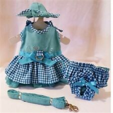 Puppy Love Dog Dress 4 Pc Set with Hat, Panties, & Leash XS, S, M, L