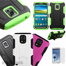 For Samsung Galaxy Hybrid Tank Shockproof Dual Layer Case Stand Cover +Film