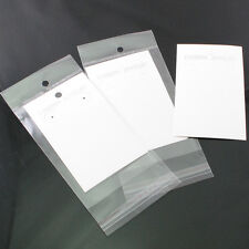 50/200sets  White Earring Jewelry Display Hanging Cards W/Self Adhesive Bags