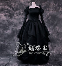 Black court Halloween victorian Cosplay Lolita Costume formal gown Prom dress