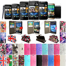 PU Leather Stylish Printed Book Wallet Flip Cover For HTC Mobile Phones + Stylus