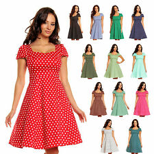 Vintage Polka Dot Spot 50's Rockabilly Swing Cocktail Dress Cap Sleeves UK 6-22