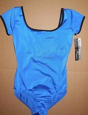 NWT Body Wrappers P620 capsleeve satinfinish leotard dance keyhole back blue/blk