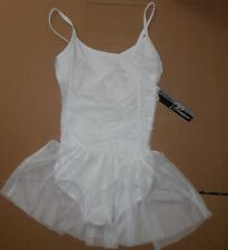 NWT Body Wrappers P732 ruched camisole mesh skirted leotard White ladies ballet