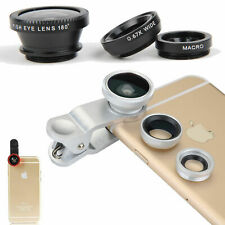Clip 3 in 1 Camera Fish Eye Lens+Wide Angle+Macro Selfie Lens for Smartphone Tab