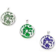 Green or Lavender Jade 925 Sterling Silver Dragon & Phoenix Pendant