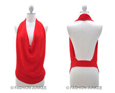 B6 RED DRAPED OPEN BACK Tank Top Halter Cowl Neck Low Cut Backless NEW S M L XL