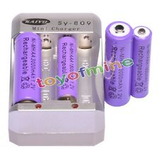 2x AA 3000mAh +2 x AAA 1800mAh 1.2V Ni-MH Purple Rechargeable Battery +Charger