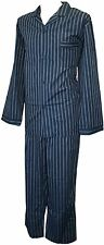Espionage Traditional Striped Cotton Mix Long Pyjamas Navy