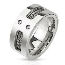 316L Stainless Steel Men's Double Wire Inlaid Center Band Ring Size 9-13