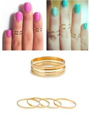 Urban Cute 5PC/Set Above Knuckle Band Midi Ring gold silver 3 size stack Plain