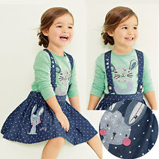 2PCS Girls Kids Princess Rabbit Tops+Dot Overalls Dresses Skirts Outfits 1-5Y