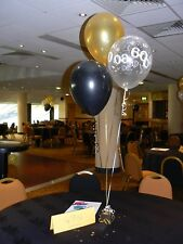 60th Birthday Party Helium Balloons 10 Decorations Gold & Black or Other Colours