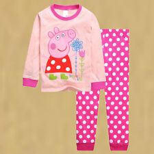 Cute Age 2-7 Baby Kids Girl Peppa Pig Clothing Cotton Clothes Sleepwear Homewear