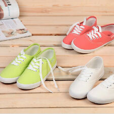 New Girl's Women's Canvas Low Top Lace Up Sneakers Casual Colorful Flat Shoes