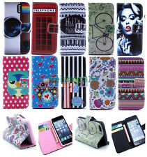 Pattern Wallet Card Holder Stand PU Leather Case Cover For Various Cell Phones