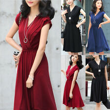 NEW Womens Cocktail Evening Elegant Chiffon Deep V-neck Gowns Party Sexy Dress