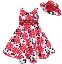2 Pecs Girls Dress Hat Floral Summer Party Holiday Princess Child Age 4-12