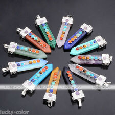 1pc Sword-shaped Gemstone Healing Point Chakra Pendant Fit Necklace DIY Gift Hot
