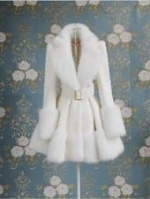 new lady  elegant faux fur winter wool blend jacket coat white S M L XL W/belt