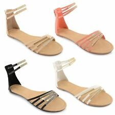 Womens Flat Summer Sandals Casual Beach Open Toe Ladies Gladiator Shoes Size UK