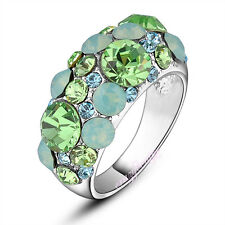 light green crystal Ring lady fashion jewelry white gold GP free shipping R1062