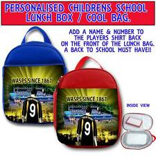 PERSONALISED LONDON WASPS RU RUGBY CHILDRENS SCHOOL LUNCH BOX COOL BAG