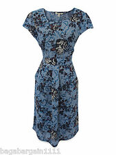 NEW WHITE STUFF VINTAGE 50S STYLE FLORAL SUMMER TUNIC TEA DRESS BLUE RED BLACK