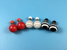 Celebrity Double Round Ball Beads Ear Plug Stud Earrings