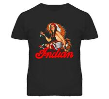 Mens CLASSIC VTG INDIAN MOTORCYCLE PIN-UP GIRL CHIEF PEACE PIPE FITTED T-SHIRT