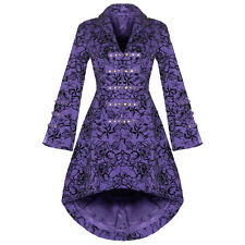 Womens New Purple Gothic Steampunk Military Rockabilly Flocked Tattoo Coat