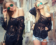 NEW Semi Sheer Sleeve Embroidery Floral Lace Crochet Tee Top T Shirt Blouse