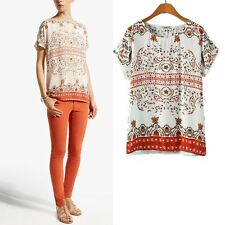 New Womens Vintage Palace Geometric Print Chiffon T-shirt Tops Blouse S M L
