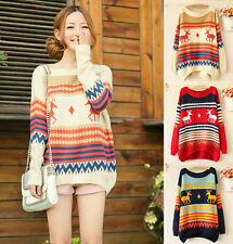 Women Long Sleeve Loose Knitted Striped Christmas Deer Pullover Sweater Outwear
