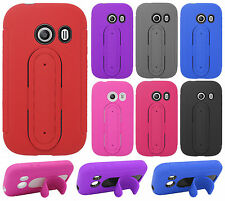 Straight Talk Samsung Galaxy ACE Rubber Hybrid HARD Case Cover Snap Tail STAND